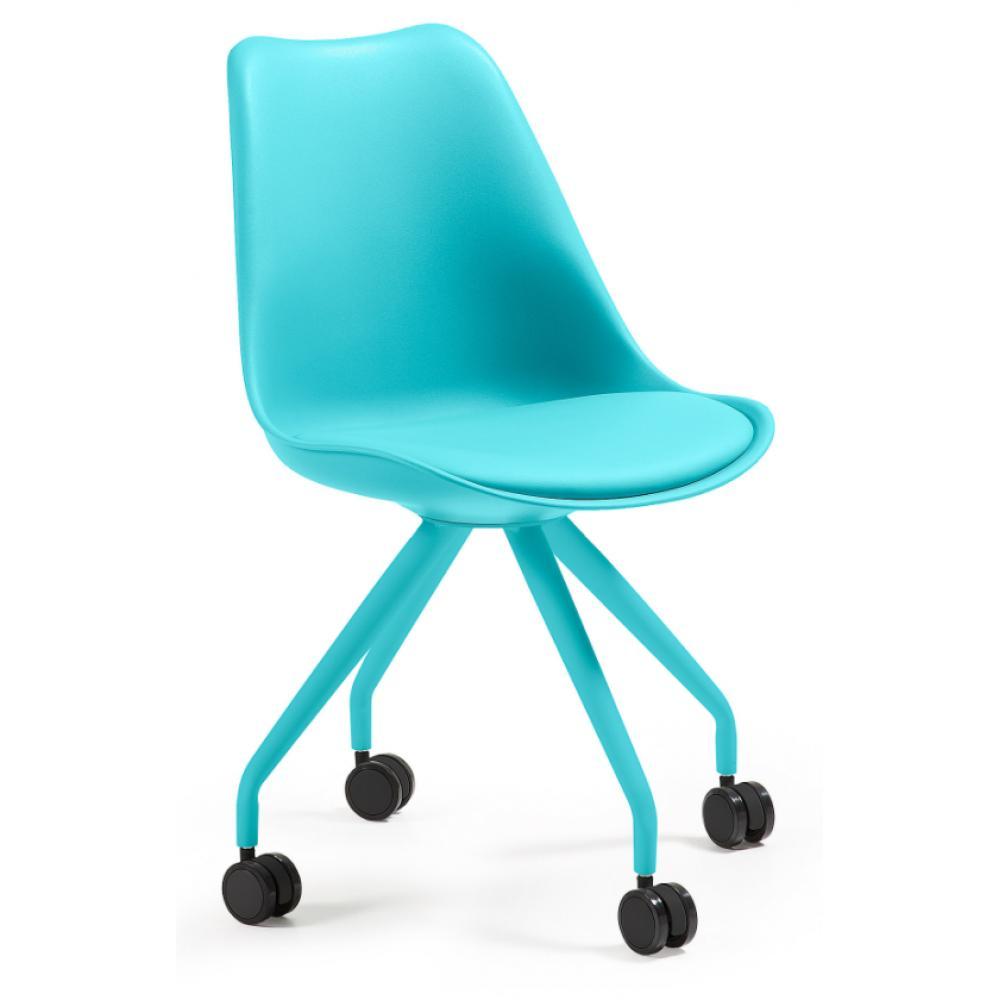 Silla Escritorio Ralf Con Ruedas Y Asiento Acolchado Color Azul   Imagen 1