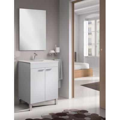 Mueble Baño 2 Puertas LCD + Lavabo + Espejo en Blanco Brillo - Imagen 1