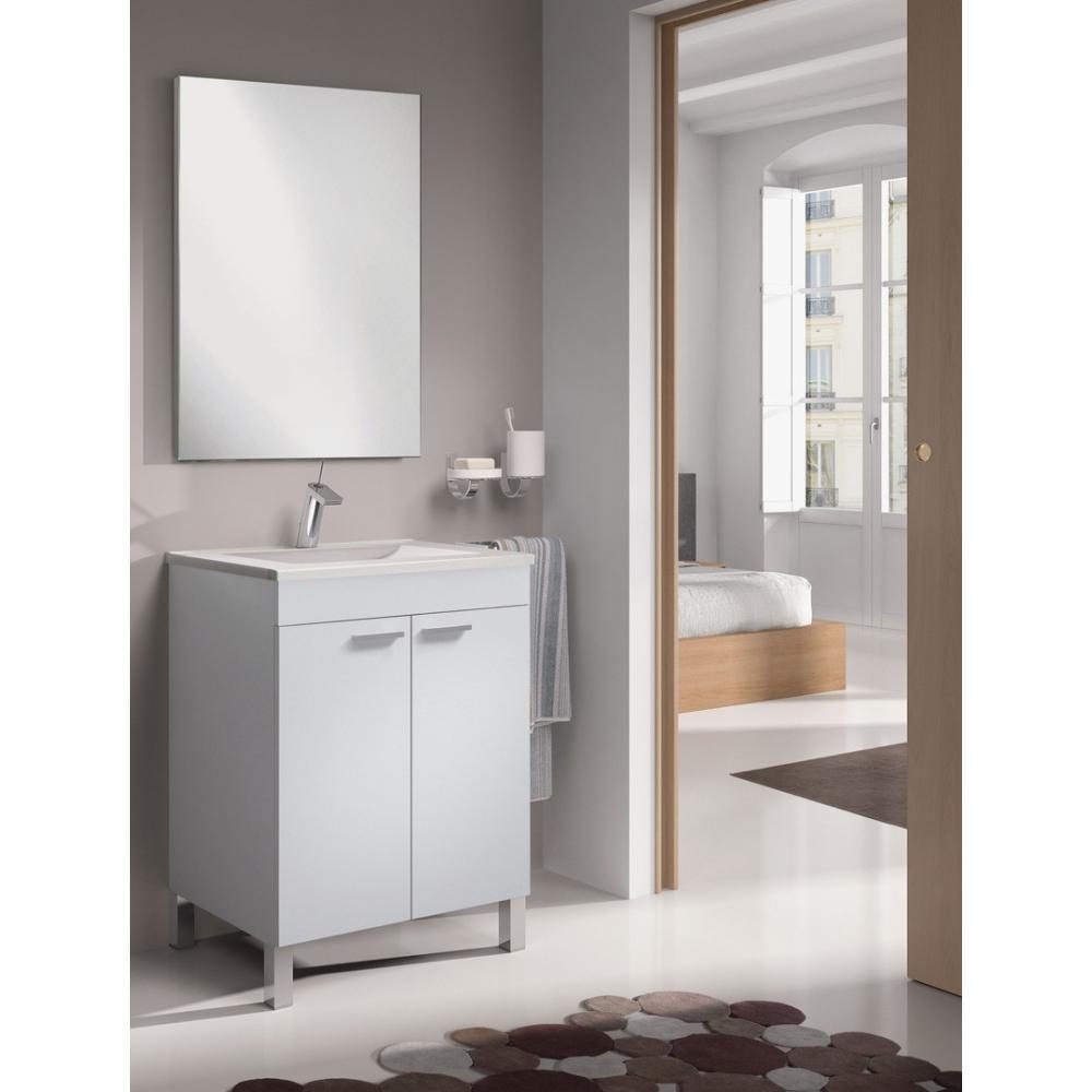 Mueble ba o 2 puertas lcd lavabo espejo en blanco for Banos 2 lavabos