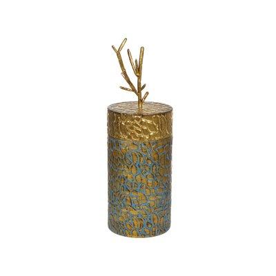 Caja con tapa rama  añil y oro - Imagen 1