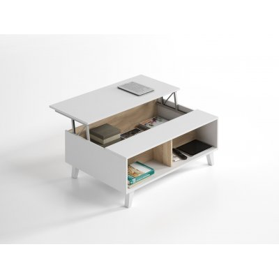 Mesa Centro Elevable Blanco Brillo - Roble Stylus Plus - Imagen 1