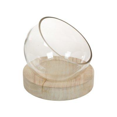Centro mesa cristal con madera - Imagen 1