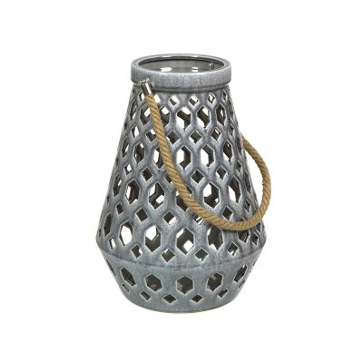 Farol cerámica con asas gris - Imagen 1