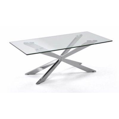 Mesa Centro Trento Acero Inoxidable Cromado Diseño Moderno 120X60 - Imagen 1