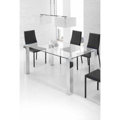Mesa Oficina Eco Chantal Cristal y Acero - Varias Medidas | Mobelfy