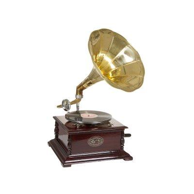 Gramófono cuadrado latón - Imagen 1