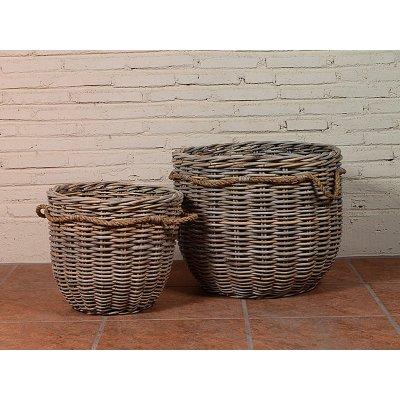 Jgo. 2 cestos ratán redondos - Imagen 1