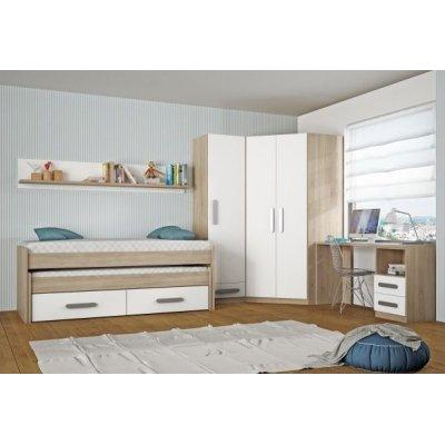 Dormitorio Juvenil Armario Rincón Modelo Nebraska Arena-Blanco - Imagen 1