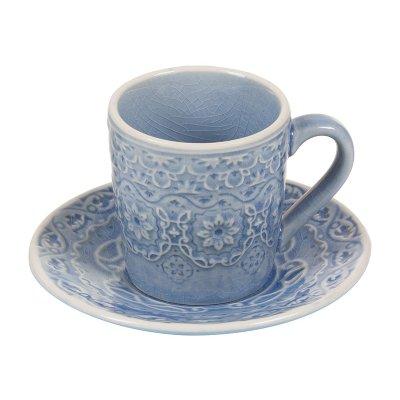 Taza café plato azul - Imagen 1