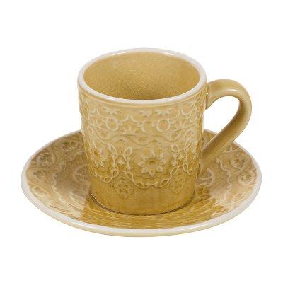Taza café plato mostaza - Imagen 1
