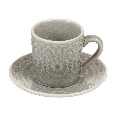 Taza café plato gris - Imagen 1
