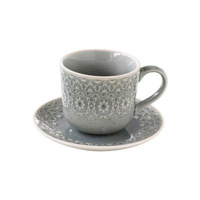 Taza te plato gris - Imagen 1