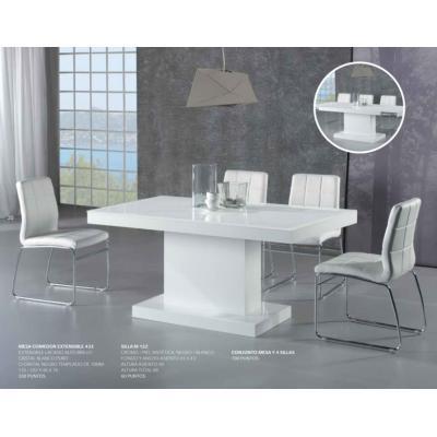 Mesa Comedor Extensible Lacada Blanco Alto Brillo 135X86 Modelo 433 - Imagen 1