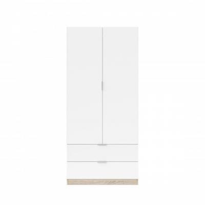 Armario 2 Puertas + 2 Cajones Modelo Nordic Color Roble-Blanco - Imagen 1