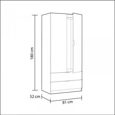 Armario 2 Puertas + 2 Cajones Modelo Nordic Color Roble-Blanco - Imagen 2