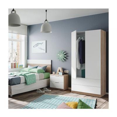 Armario 2 Puertas + 2 Cajones Modelo Nordic Color Roble-Blanco - Imagen 3