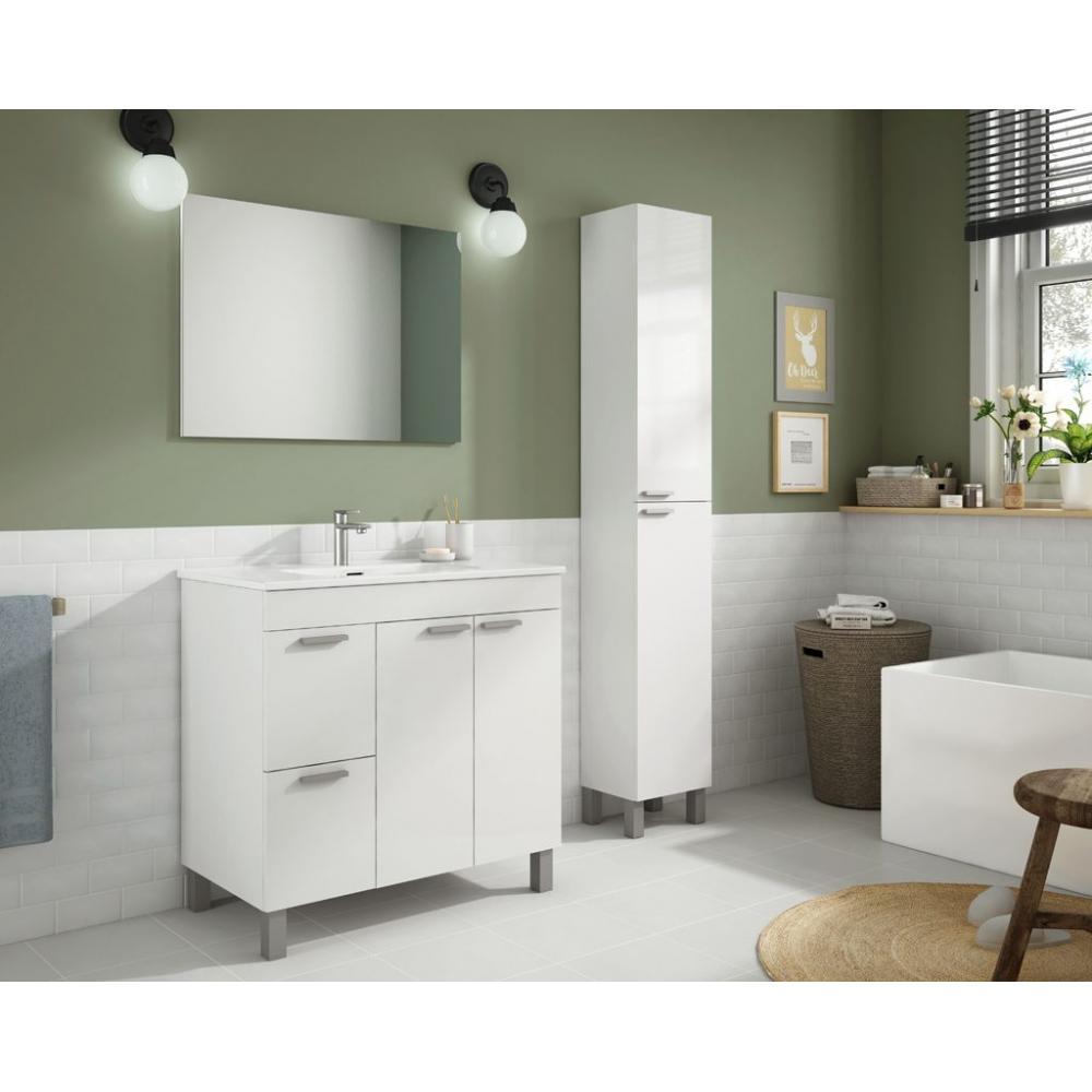 Mueble ba o aktiva 80 cm espejo lavabo mobelfy - Muebles espejo bano ...