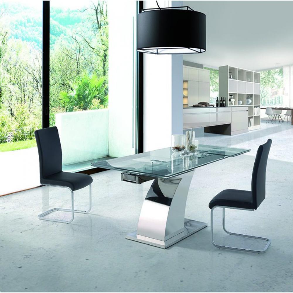 Mesa Comedor Acero Cristal Extensible Modelo 403 | Mobelfy