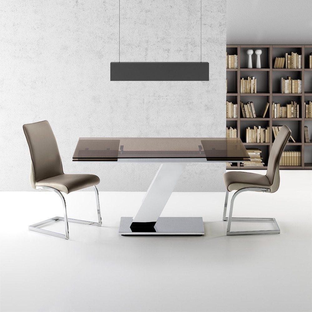 Mesa Comedor Acero Cristal Extensible Modelo Sumatra Center | Mobelfy