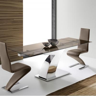 Mesa Comedor Acero Cristal Extensible Modelo Sumatra Siete - Imagen 1
