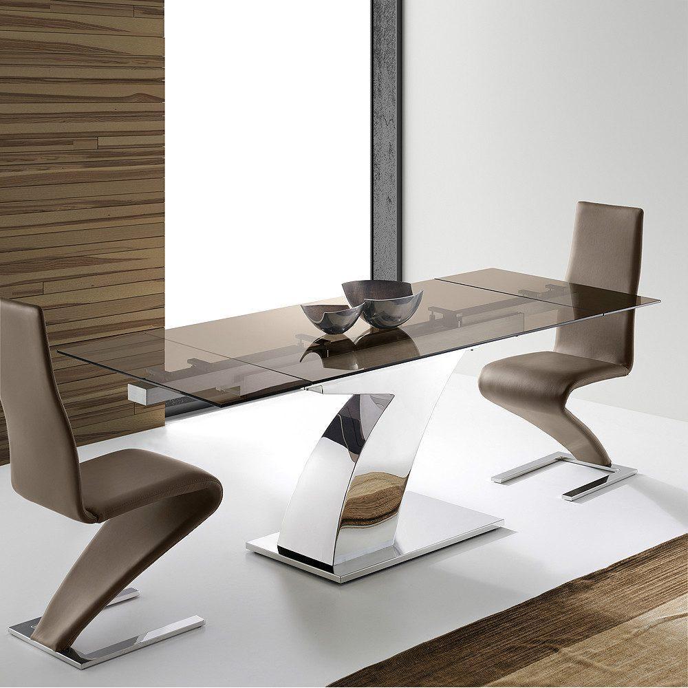 Mesa Comedor Acero Cristal Extensible Modelo Sumatra Siete | Mobelfy