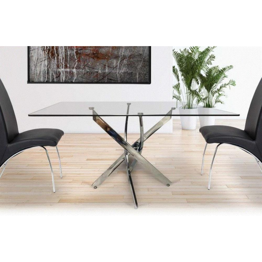 Mesa Comedor Acero Cristal Modelo Nesy 140x90 | Mobelfy