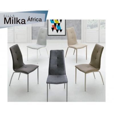 Silla Comedor Modelo Milka - Varios Tejidos Distintos - 4 Colores Estructura