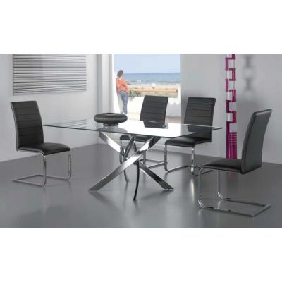 Mesa Comedor Fija Modelo 318 - 160x90 - Acero - Cristal - Imagen 1