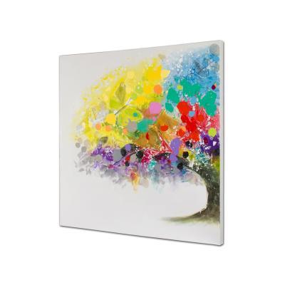Cuadro óleo árbol colores - Imagen 1