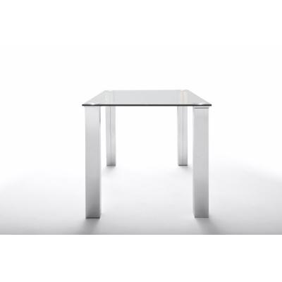 Mesa Comedor Eco Chantal Cristal y Acero 160x90 | Mobelfy
