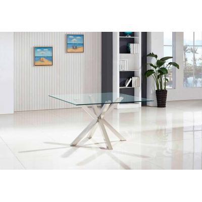 Mesa Ness Acero Cristal Cuadrada 140x140 - Imagen 1