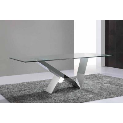 Mesa Comedor Ontario 200x100 Acero Cromado Diseño Minimalista - Imagen 1