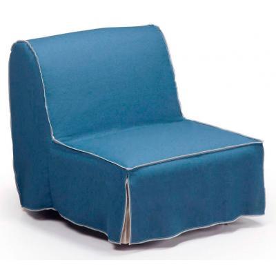 Sillón Cama Modelo Jolly 90 cm Tela Sako Azul - Imagen 1