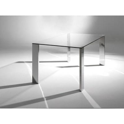 Mesa Comedor Godiva Acero Cristal 120x70 - Imagen 1