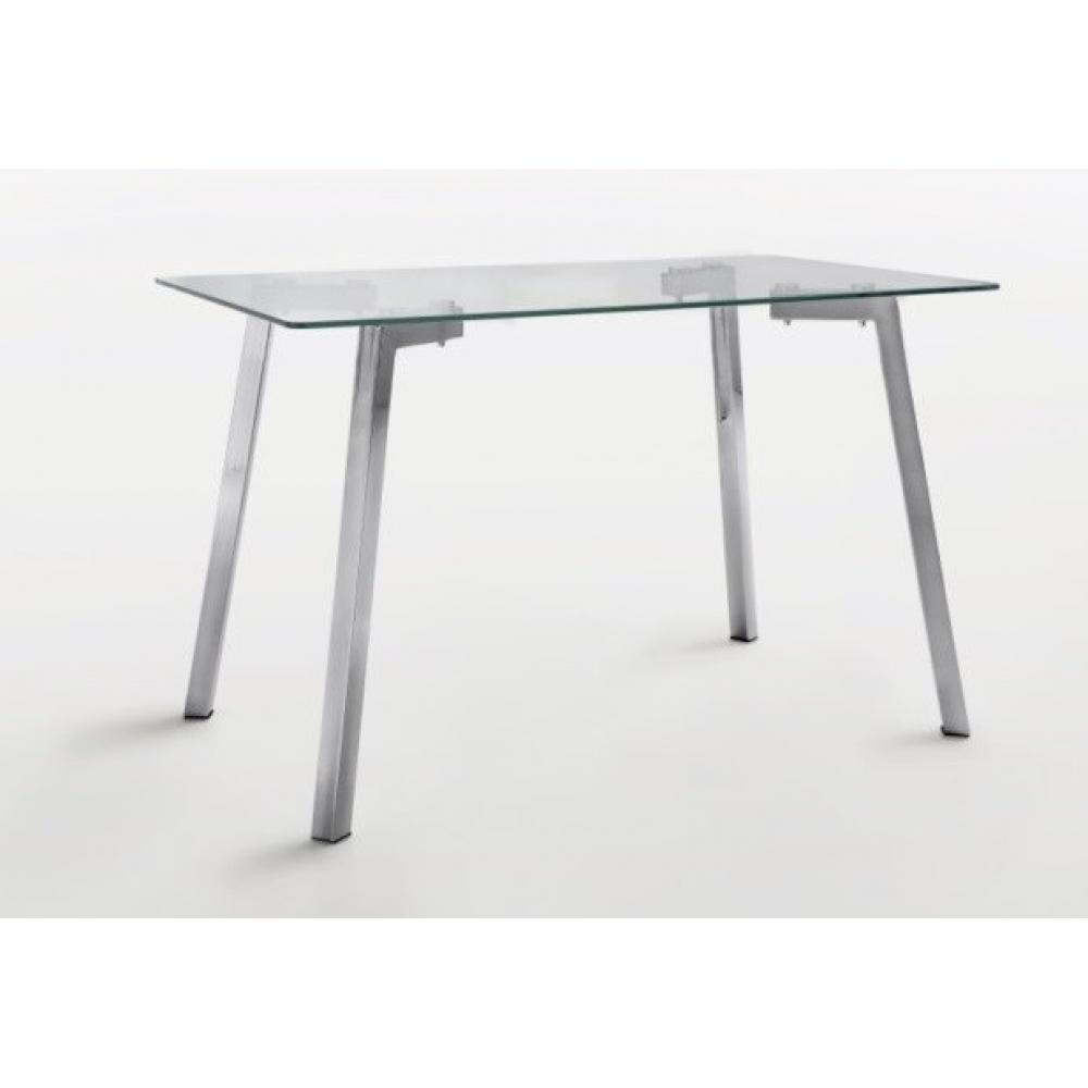Mesa Comedor Modelo Duke Acero y Cristal 120x70 | Mobelfy