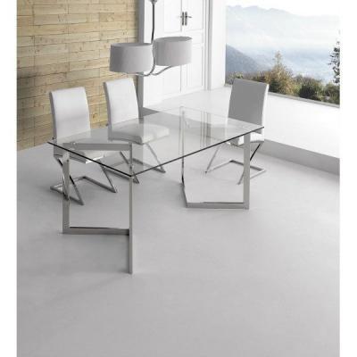 Mesa Oficina Cuore Cristal Templado-Acero Inoxidable 140x80