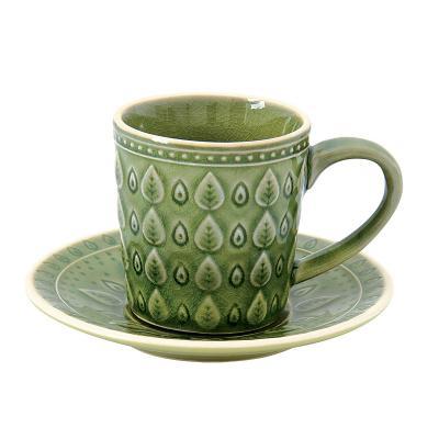 Taza te + plato natural verde - Imagen 1
