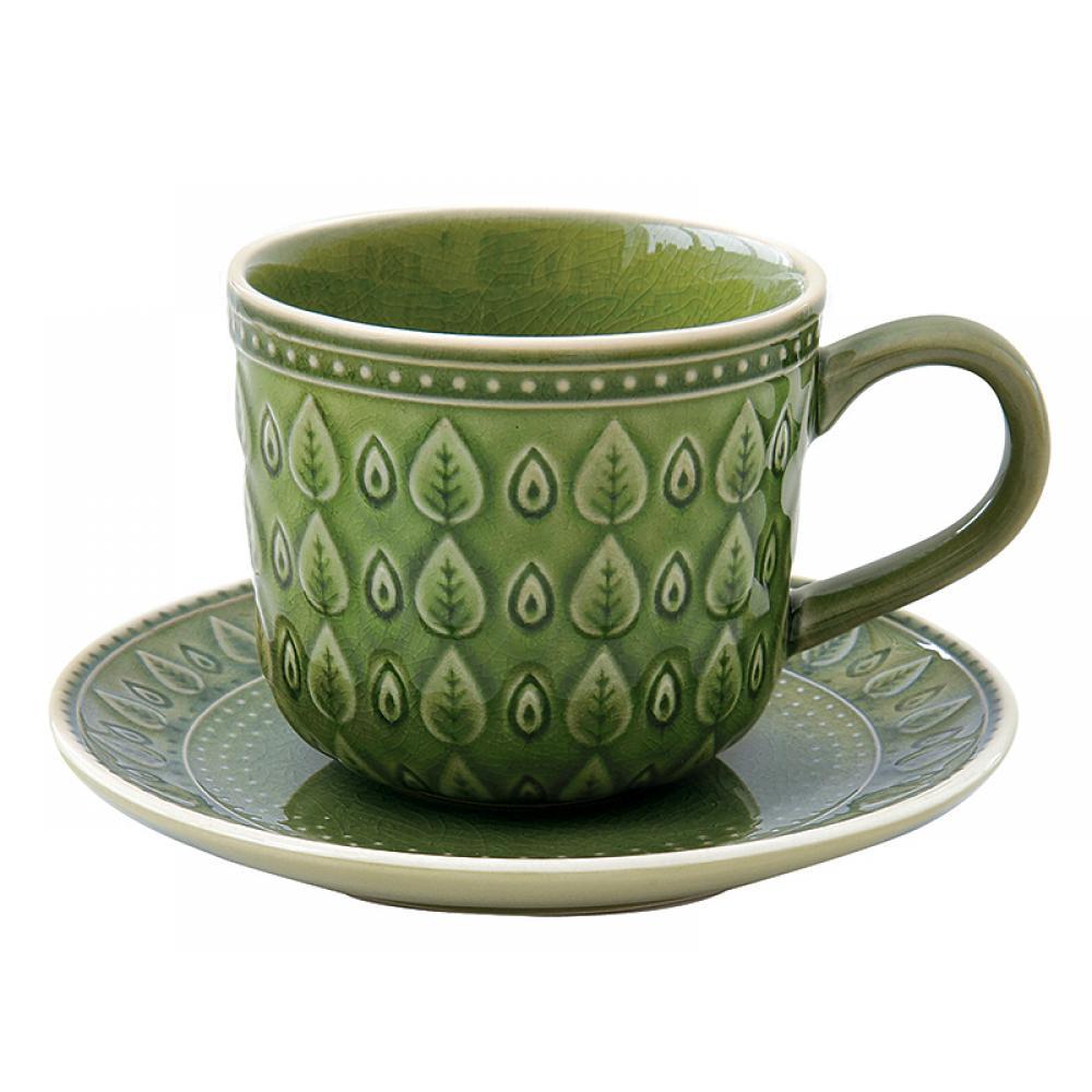 Taza cafe + plato natural verd - Imagen 1