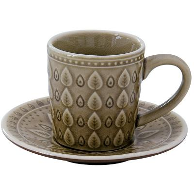Taza te + plato nat marrón - Imagen 1