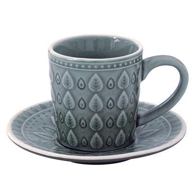 Taza te + plato natural azul - Imagen 1