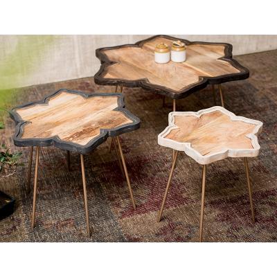 Jgo 3 mesas auxiliares flor - Imagen 1