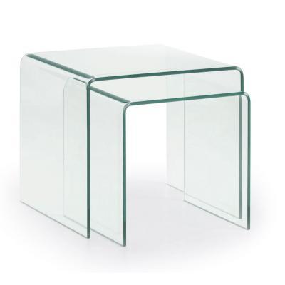 Set 2 Mesas Nido Burano 50x45 Cristal Transparente - Imagen 1