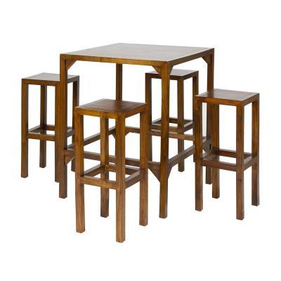 Mesa alta con 4 taburetes - Imagen 1