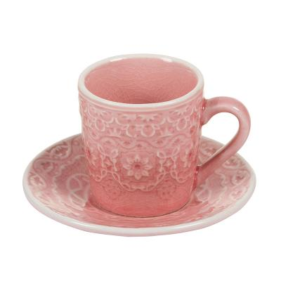 Taza café plato coral - Imagen 1