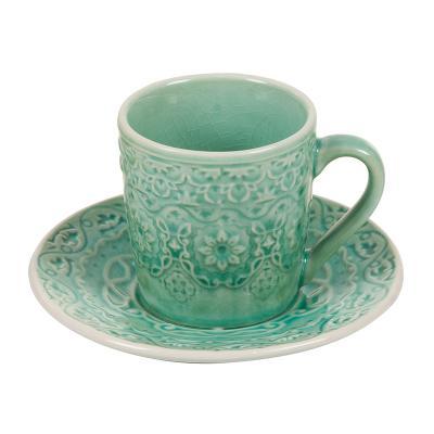 Taza café plato verde - Imagen 1