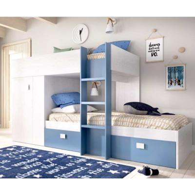 Cama Tren Dormitorio Juvenil Modelo Groe Color Blanco Artik-Azul Aguamarina - 90x190 - Imagen 1