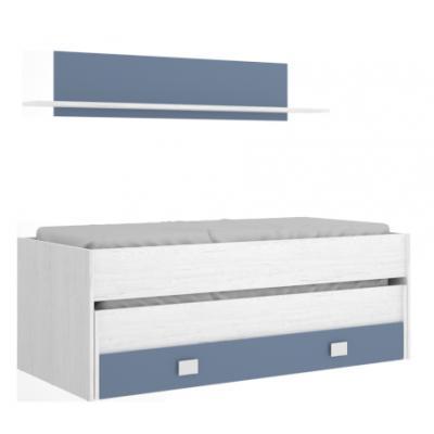 Cama compacto 2 Cajones + Estanteria 90x190 Modelo Ocean Blanco Artic-Azul Agua Marina - Imagen 1