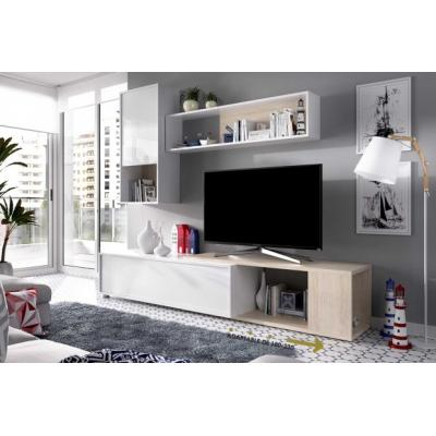 Composicion Salon Tv Flexible Modelo OBI Color Blanco Brillo / Natural 180 x 130 cm - Imagen 1