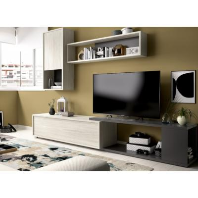 Composicion Salon Tv Flexible Modelo OBI Color Gris / Grafito 180 x 130 cm - Imagen 1