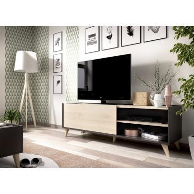 Mueble Bajo TV Ness  47 x 155 color Grafito / Natural - Imagen 1